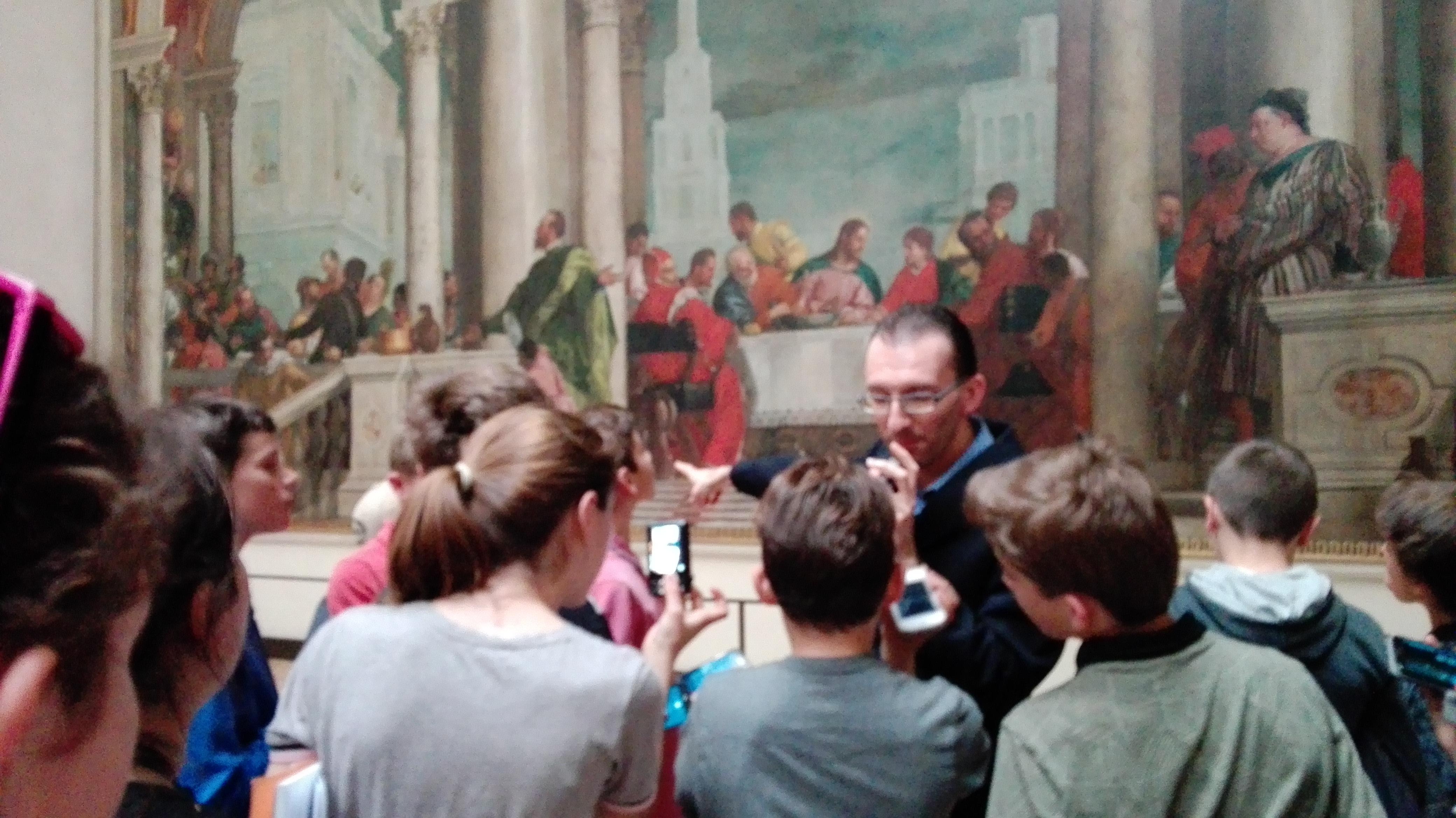 Dans la galerie de l'Academia avec notre guide
